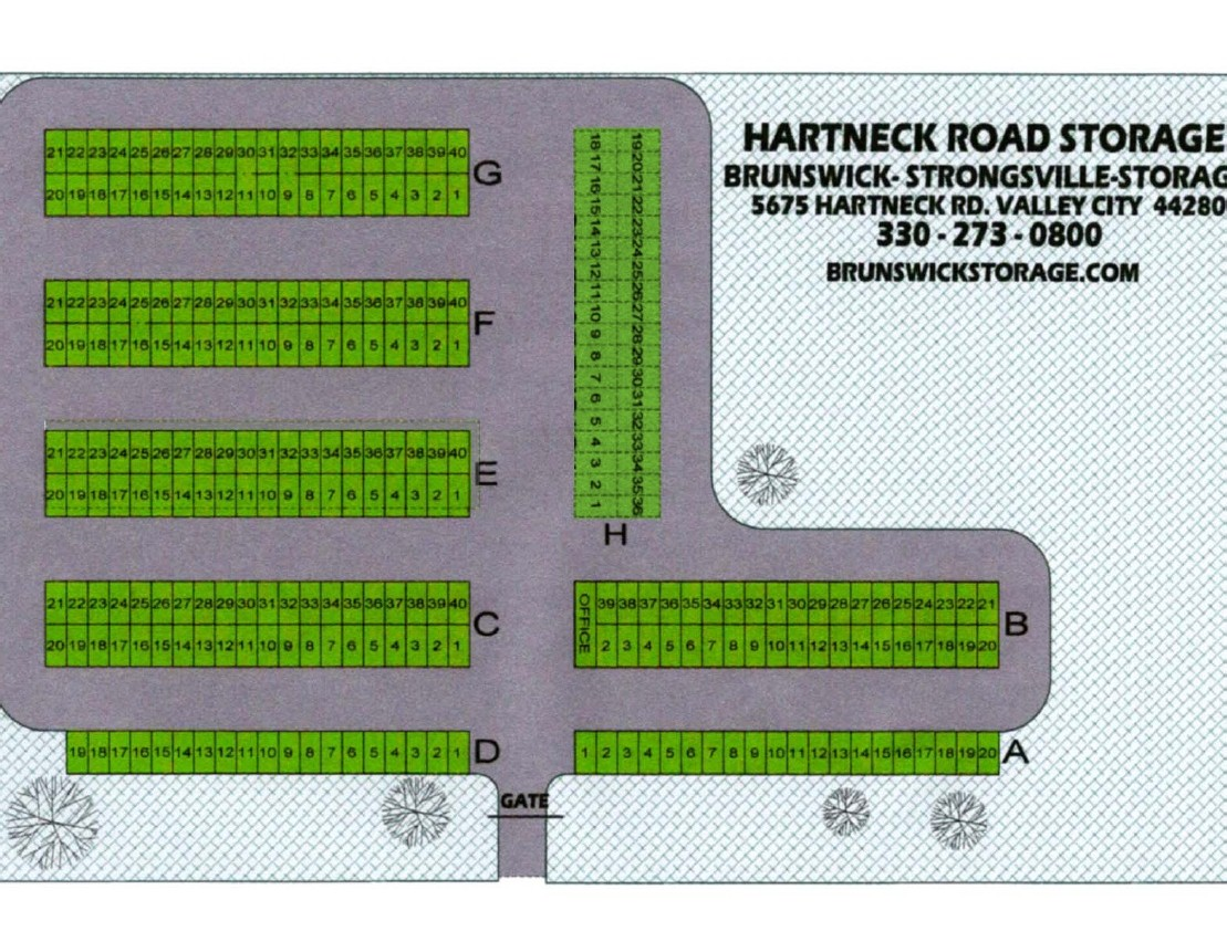 Layout of secure storage units at Brunswick Strongsville Storage